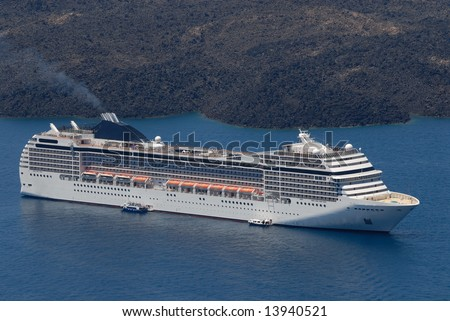 Cruise ship in the harbor of Santorini, Greece