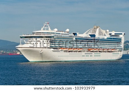 Cruise Ship in the harbour in Vancouver, Canada. - stock photo
