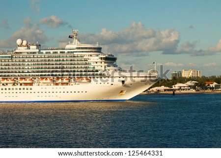 Cruise Ship in the inter-coastal waterway in Port Everglades, Fort Lauderdale, Florida. - stock photo