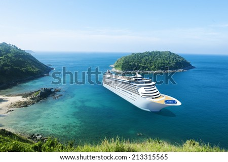 Cruise Ship in the Ocean with Blue Sky - stock photo