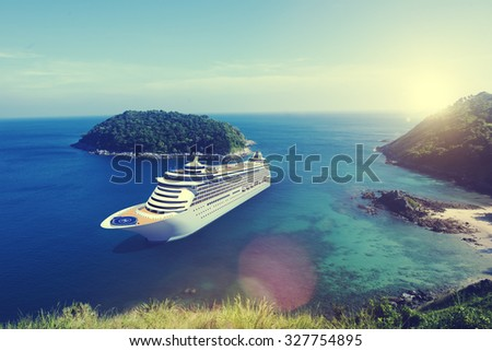 Cruise Ship in the Ocean with Blue Sky Concept - stock photo