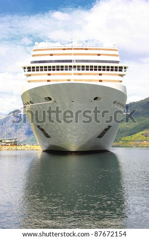 cruise ship in the port of Flaam, Aurlandsfjord, Sognefjord - stock photo