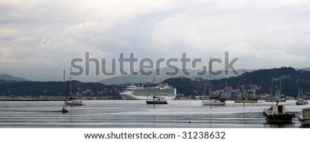 cruise ship in the port of la spezia - stock photo