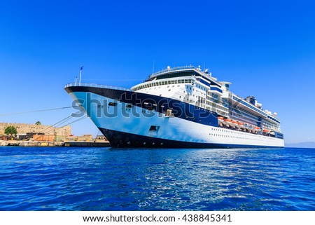 cruise ship in the port on the dock sunny Rhodes Greece - stock photo