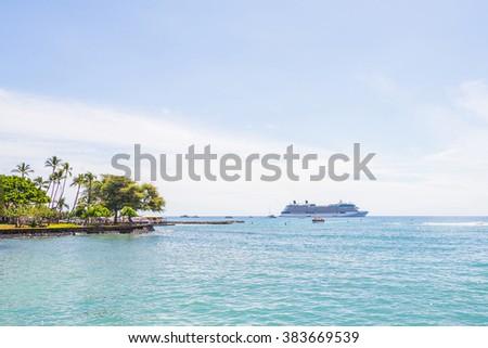 Cruise ship in the sea near the islands of Maui, Hawaii - stock photo