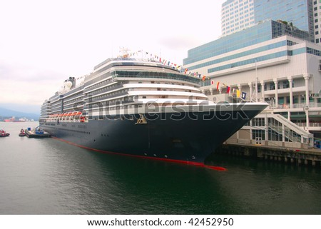 Cruise ship moored Vancouver BC. - stock photo