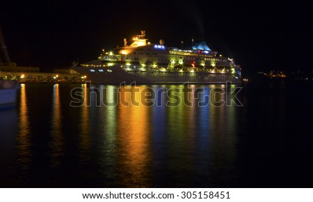 cruise ship - night lights colors  - stock photo
