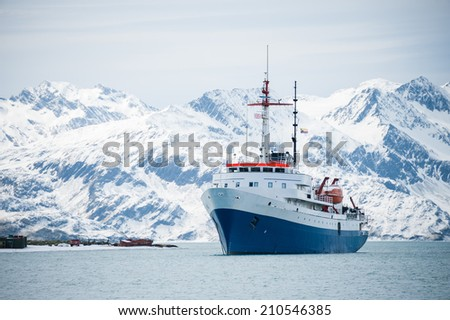 Cruise ship, on an expedition to Antarctica - stock photo