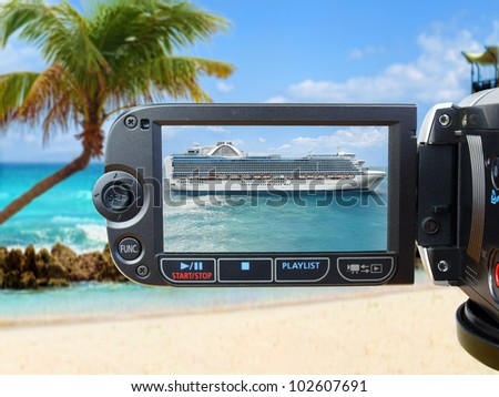 Cruise Ship on Camera Screen  View through the camera on luxury cruise ship - stock photo