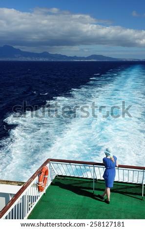 Cruise ship on the ocean - stock photo