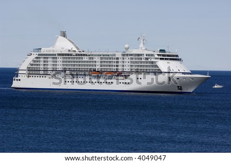 cruise ship  on the ocean during a sunny summer day outside the island of Gotland in the Baltic sea in Sweden