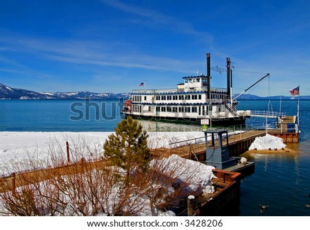 Cruise ship park by the shore in Lake Tahoe - stock photo