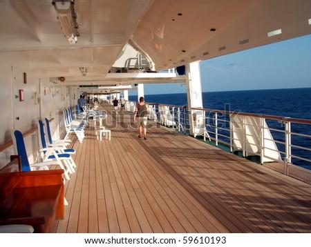 Cruise Ship Promenade Deck - stock photo