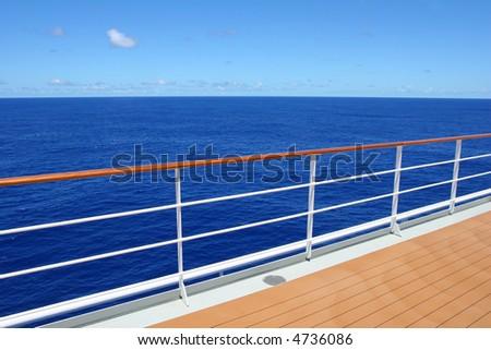 Cruise Ship Promenade Deck - on the sea - stock photo