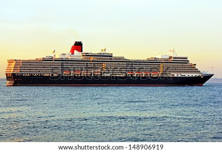Cruise ship Queen Elizabeth of Cunard cruise company.