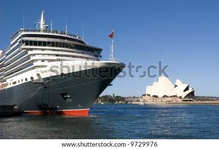 Cruise ship Queen Victoria of the cunard ship fleet docked in Sydney Harbour ( harbor) on a beautiful Blue Day , February 24th 2008.