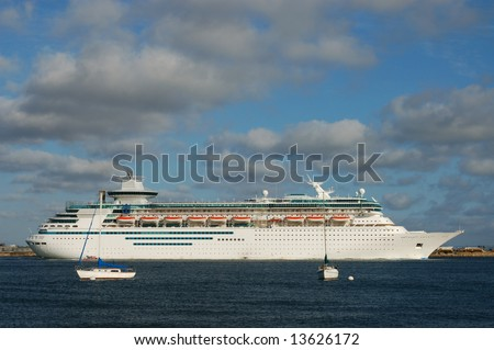 Cruise ship steaming out of San Diego Harbor; San Diego, California