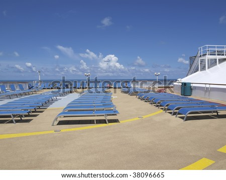 Cruise ship tanning deck wide angle - stock photo