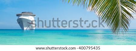 Cruise ship tropical island - stock photo