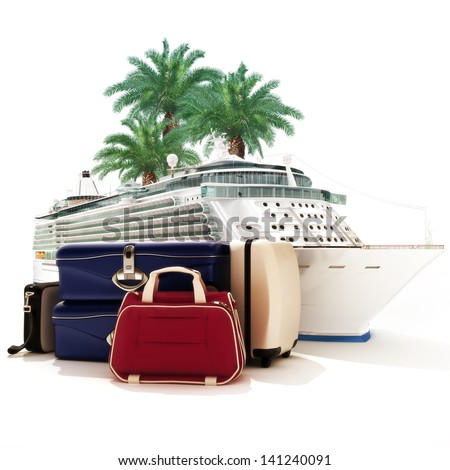 Cruise ship with luggage and palms in the background. - stock photo
