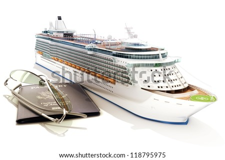 Cruise ship with passport and glasses on a white background - stock photo