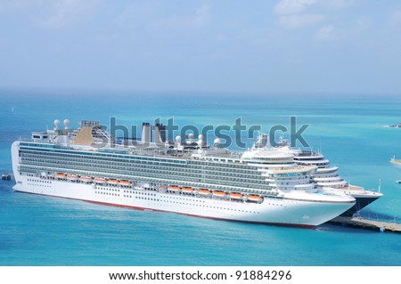 Cruise Ships at St. Maarten - stock photo