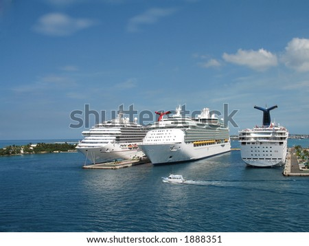 cruise ships docked at Port of Nassau, New Providence, Bahamas - stock photo