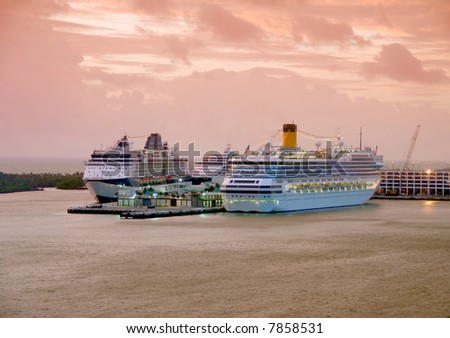 Cruise ships in Fort Lauderdale early morning - stock photo