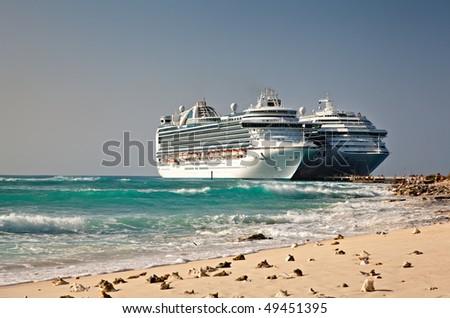 Cruise Ships in Grand Turk Islands - stock photo