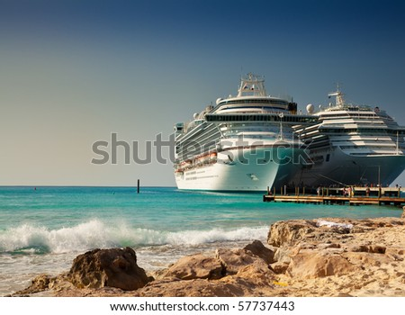 Cruise Ships in Port at Grand Turk Islands, Caribbean - stock photo