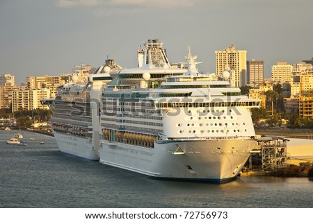 cruise ships in port, san juan puerto rico - stock photo