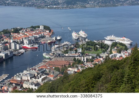cruise ships in the port of bergen, Norway
