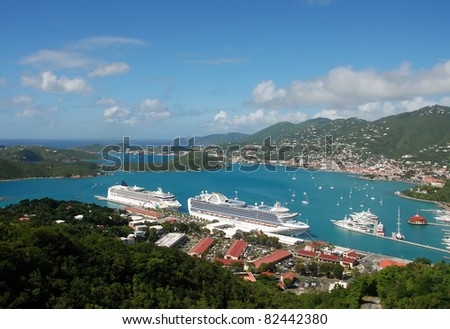 Cruise ships visiting St Thomas, US Virgin Islands