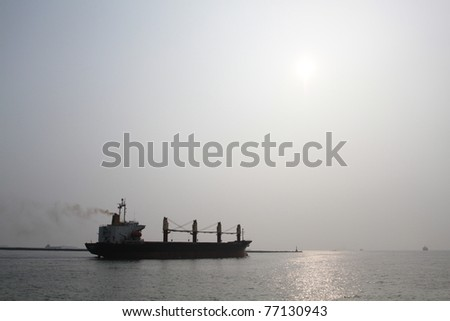 cruise silhouette - stock photo