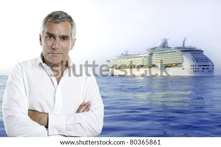 cruise summer vacations image with a senior white shirt man [Photo Illustration] - stock photo