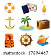 Cruise Travel Vacation Icons JPEG (please see portfolio for vector version) - stock photo
