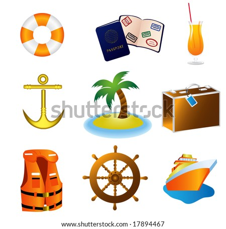 Cruise Travel Vacation Icons JPEG (please see portfolio for vector version)