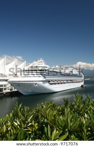Cruise Vessel Docked at Canada Place - stock photo