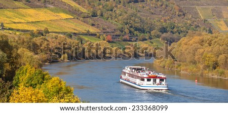Cruise vessel on river moselle - stock photo