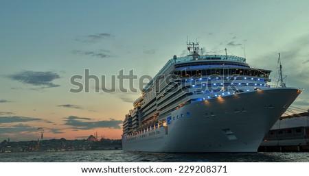 Cruises Istanbul Port Bosporus - stock photo