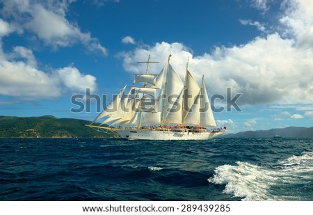 Cruises on sailing ships. Caribbean Islands - stock photo