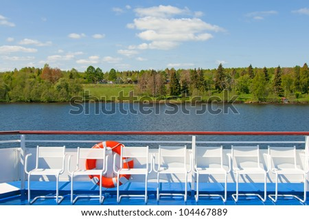 Cruises on the North of Russia. Deck of the tourist ship