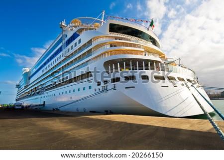 Cruiseship in Las Palmas Gran Canaria Spain - stock photo