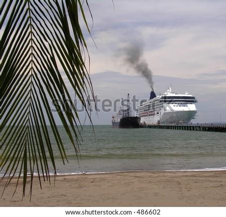 Cruiseship on the pier of Puntarenas / Costa Rica - stock photo