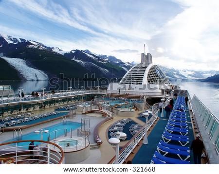Cruising in College Fjord, Alaska. - stock photo