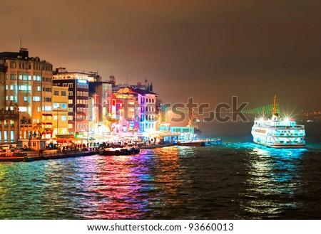 Cruising ship docking on Galata pier on Bosporus, Istanbul, Turkey - stock photo