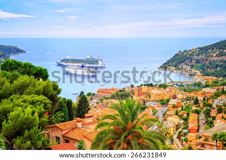 Cruising ships in a lagoon of Villefranche by Nice, France - stock photo