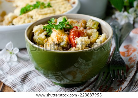 Crumble with vegetables