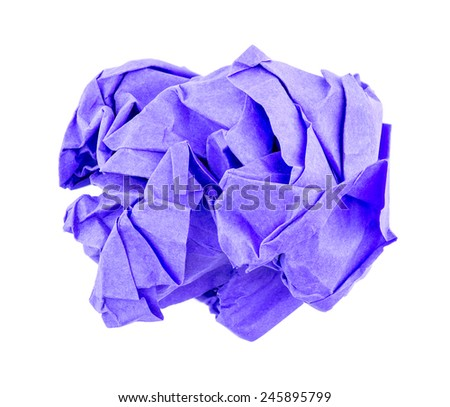 Crumbled ball of purple recycled paper