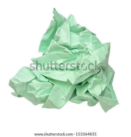 Crumbled paper ball isolated on white background